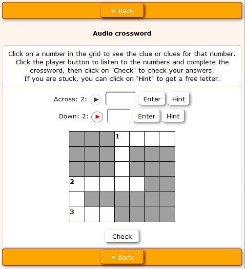 Audio Crossword add-on | Hot Potatoes Tutorials
