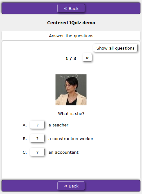 centered question text and images in HotPotatoes JQuiz