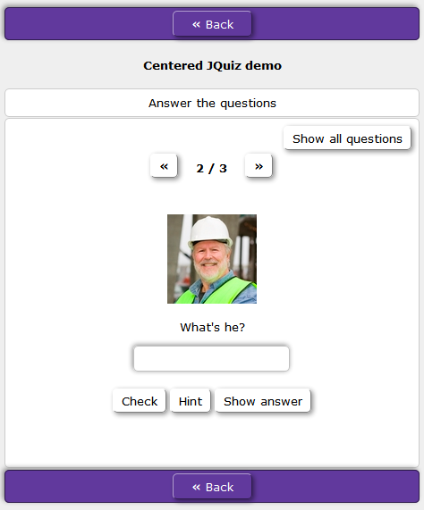 centered text box and buttons in HotPotatoes JQquiz
